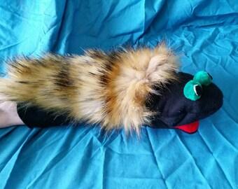 Hand Puppet Caterpillar with Green Eyes
