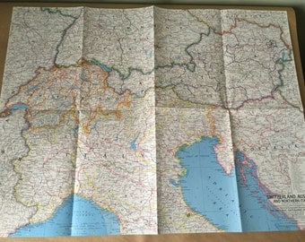 1965 National Geographic Map Switzerland, Austria, Italy, Yugoslavia