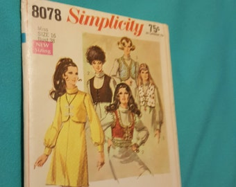 REDUCED 1960's Simplicity #8078 size 16 year CUT