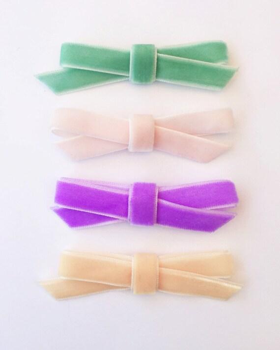 Pastel Velvet Hair Bows - Hair Clips - Velvet Headbands - Velvet Hair Bows - One Size Fits All - Newborn Baby Toddler Headbands