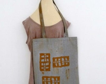 handpainted tote bag 'three of a kind' ochre