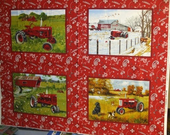 Farmall Tractor  with 4 Seasons Pillow Panel