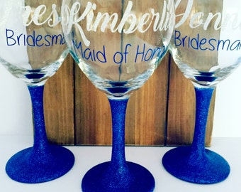 Personalized Bridesmaid Wine Glasses, Personalized Bachelorette Glasses, Bachelorette Party Wine Glass
