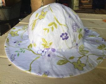 Womens sunhat, purple flowers