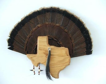 Wild Turkey Tail Fan Mount - Red Oak - State of Texas