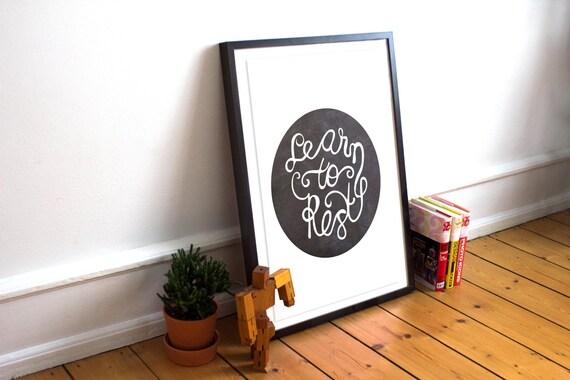 Encouraging Decor/ Rest Print  / Encouraging / Sympathy Print / Friend Gift / Dad print / Chalk board print/ chalk / Educational print