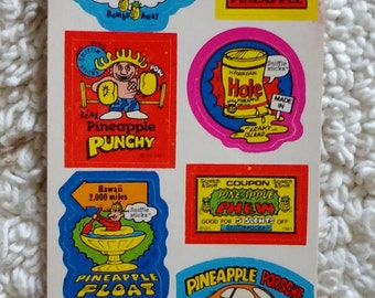 Vintage Scratch & Sniff stickers  Pineapple and Strawberry