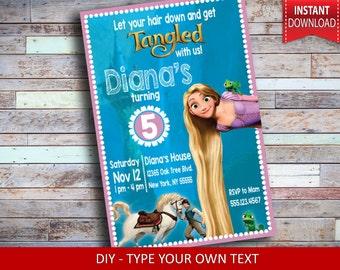 Tangled Invitation - Rapunzel Invitation - Tangled birthday invitation - Tangled birthday party - Rapunzel birthday party - Editable text