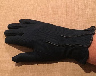 Vintage Navy Gloves By Van Raalte, Size 6.5, Made in USA, Nylon with Ribbed Look, Fall Gloves, Driving Gloves