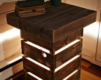 Rustic Reclaimed Wood Display Table with Light