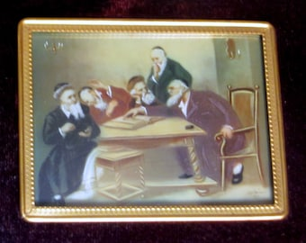 CARL SCHLEICHER Original Oil Painting Five Rabbis Discusing the Talmud 19th C