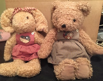 Stuffed Animal Bunny and Bear Wearing Heart Dresses-Valentine's Day