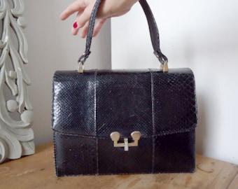 Original 50's vintage handbag in black snakeskin