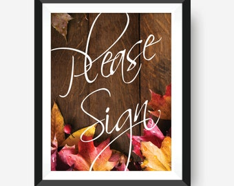 Please Sign Our Guestbook | Fall Wedding | Autumn Wedding Decorations | Wedding Guestbook | Rustic Wedding Guestbook | Please Sign Book