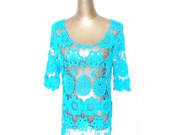 Dress Crochet blue