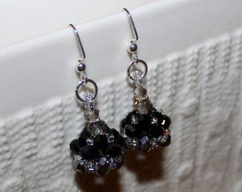 Shiny black & grey beaded handmade earrings; beadweaving