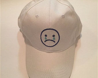 Emoji Crying face Hat , Sad face Hat ,Emoticon Print Embroidery