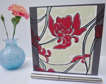 Tibetan Beauty - floral greeting card, orchid, beauty, Tibet, based on original screenprint