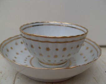 Vintage New Hall Porcelain Tea Bowl Duo Set 18th Century Tea Bowl and Saucer Gold Gilt
