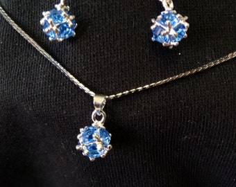 Blue Crystal Pendent and Ear Ring Set