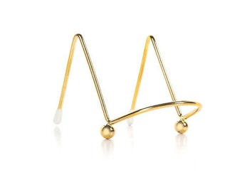 "4"" gold metal mini easel/Gold metal table number holder"