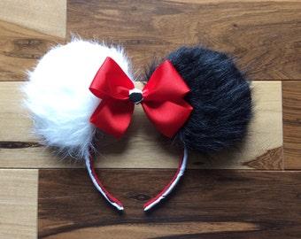 Back in Stock****Cruella Deville Ears, Cruella Mickey Ears, Disney Inspired Custom Minnie Ears
