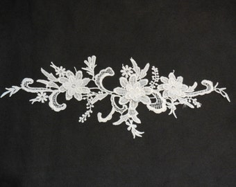 3D Floral layers ivory lace Applique / shoes floral lace motif is for sale. Sold By per piece