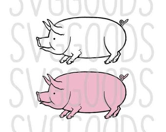 Pig svg, BBQ svg, farm svg, farm animal svg, butcher svg, bacon svg, pork svg, animal svg, food svg, recipe svg, vector, layered cut file