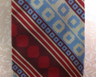 Vintage Wembley Geometric Red White and Blue Tie