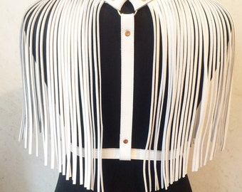 Leather harness, harness fringe,shoulders fringe, harness belt
