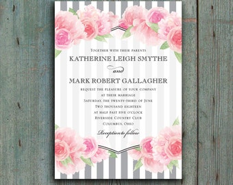Watercolor Peonies and Stripes Wedding Invitation Printable