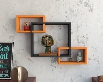 DecorNation Wall Mounted Shelf Set of 3 Floating Intersecting Storage Display Wall Shelves - Orange & Black
