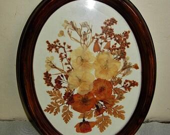 Vintage Dried Flowers nder glas in an oval oak frame.