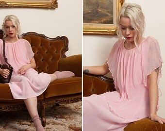 Pleated Silk Dress - Vintage Pastel Pink
