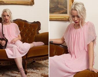 Pleated Silk Dress - Vintage Pastel Pink