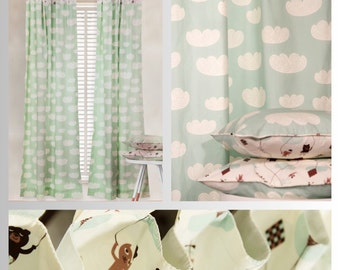 Mint Green Teddy in the Clouds Curtains and Pillow Covers