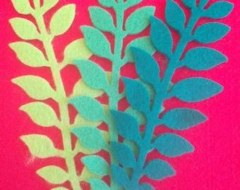 1 set of 12 die-cut stems of leaves in pannolenci