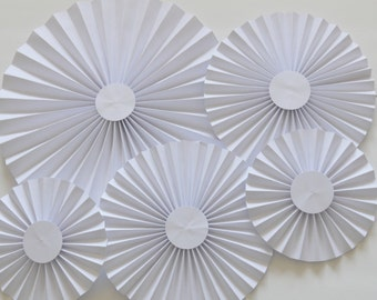 White Rosettes, Paper Fan, Pinwheel, Party Decoration, Cake Backdrop, Photo Backdrop