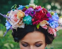 Bright Flower Crown Adult Floral Crown Fairy Costume Woodland Boho Bridal Party Large Mixed Flower Headband Wedding rustic wreath