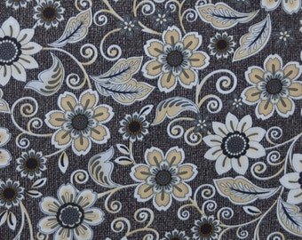 Flowers and Swirls on Charcoal background Burlap and Lace by Dover Hill for Benartex Quilting Cotton Fabric, 1/2 Yard Increments