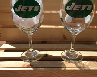 New York Jets Wine Glass