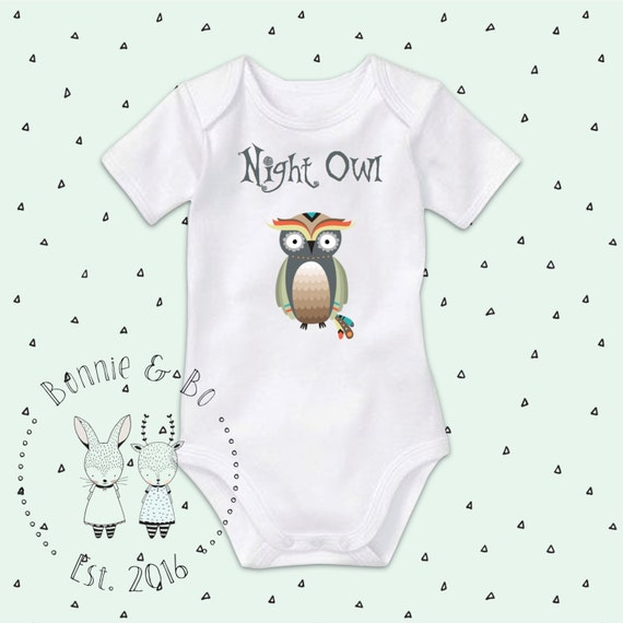 Night Owl esie baby clothes baby shower t cute baby