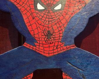 Handmade wooden Spider-Man sculpture
