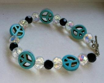 Beaded bracelet, Turquoise, Quartz Crystals, Black beads bracelet, Silver toggle; 7 1/4 inches