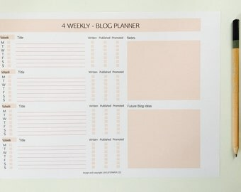 4 Weekly Blog Planner - Pink, A4, Letter
