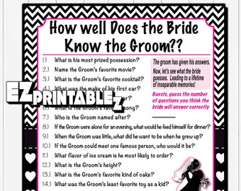 Printable Bridal Shower Game - How Well Does the Bride Know the Groom - Printable Game