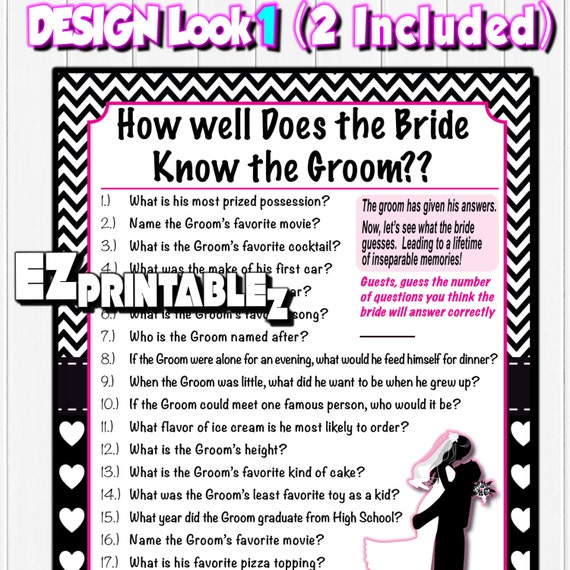 Printable Bridal Shower Game How Well Does The Bride Know