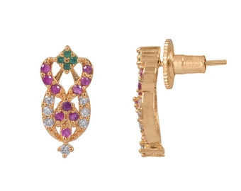 rc alloy multi stone golden coloured earring