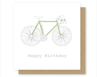 Bicycle Birthday Card - 100% Recycled Card Handmade - Birthday Card - Blank Card - Personalised