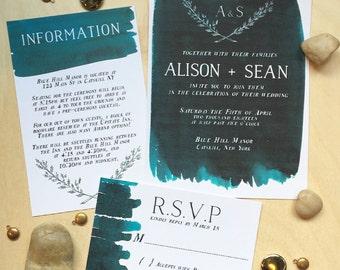Modern watercolor wedding invitation set- digital file